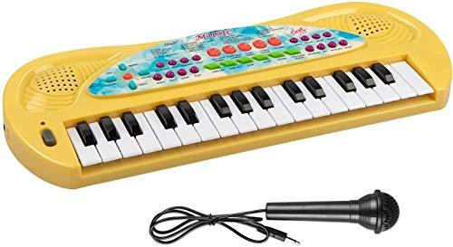 AIMEDYOU 32 Keys Kids Piano Keyboard with Microphone (Yellow)