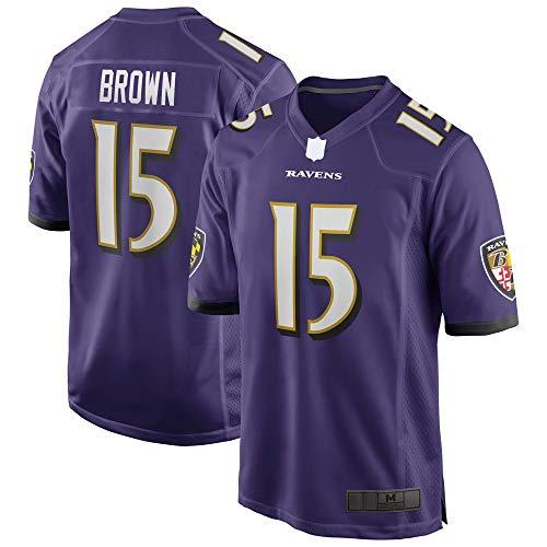 MLSON Ravens #15 Púrpura al aire libre fútbol americano marrón Jersey Marquise Jersey Baltimore secado rápido reducir el sudor Casual Camisetas