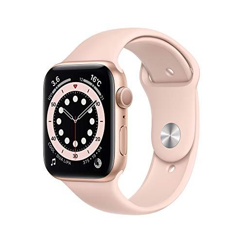 最新 AppleWatch Series 6(GPSモデル)- 44mmゴールドアルミニウムケースとピンクサンドスポーツバンド