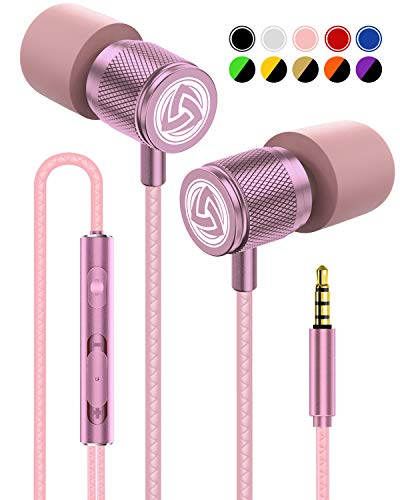 LUDOS Ultra Auriculares con Micrófono y Cable, Cascos Control de Volumen, Máxima Comodidad, Sonido Cristalino, Espuma Viscoelástica, Cable Duradero, Graves, Earphones para Ordenador, Portátil, PC