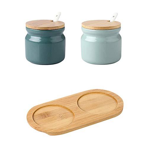 OnePine Set di 2 Zuccheriera in Ceramica, 300ml Contenitore per spezie Barattoli portaspezie con Coperchio e Cucchiaio, per Casa e Cucina