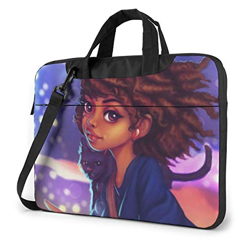 Cute African Girl and Cat Laptop Sleeve Case 15.6 Inch Computer Tote Bag Shoulder Messenger Briefcase