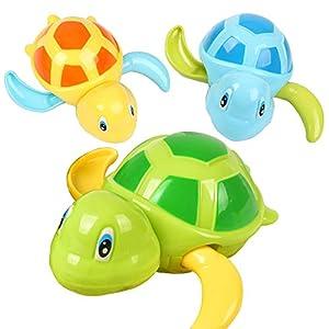 Funny House 3 Pcs Bebé Baño Juguetes de Natación, Bañera Linda Tortuga Natación Juguetes (3 Colores)
