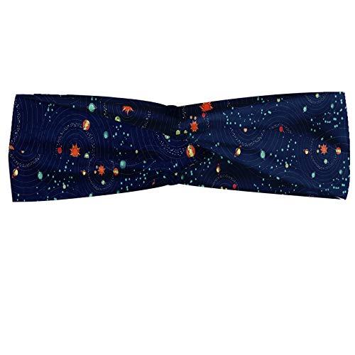 ABAKUHAUS Astrologie Bandeau, Système solaire planète astronomie Cosmos Galaxy univers mystérieux, Serre-tête Féminin Élastique et Doux pour Sport et pour Usage Quotidien, Turquoise Bleu foncé