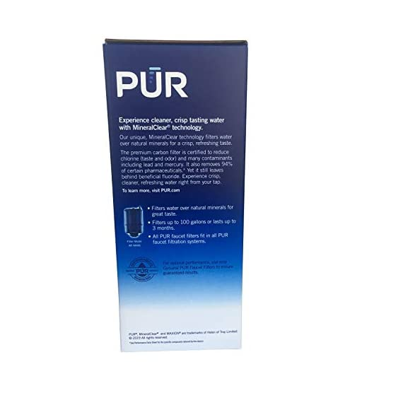 PUR Faucet Mount Replacement Filter, 5 pk. 4 5 individually wrapped Filters included in sealed box. Each filter provides up to 100 gallons or 3 months of filtered water Certified to remove 99% of lead, 96% of mercury and 92% of certain pesticides