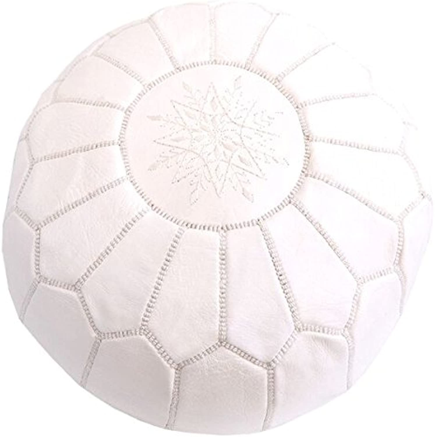 Leather Pouf with Snowflake Embroidery - White