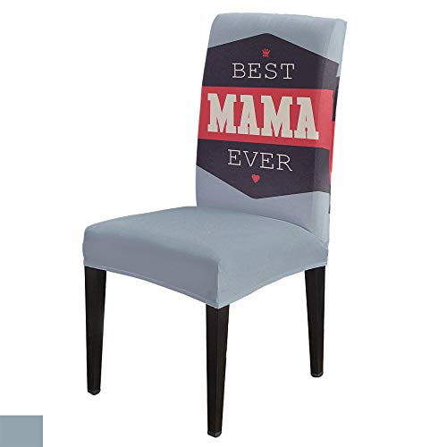6 PCS Stretchy Dining Chair Slipcovers for Home Ceremony Banquet Wedding Party, Removable Washable Anti-Dirty Furniture Protector for Kids Pets, Mother's Day BEST MAMA EVER on Black and Grey