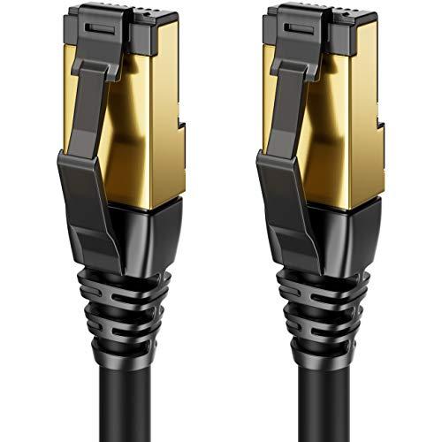deleyCON 0,5m CAT8 Patchkabel Netzwerkkabel RJ45 LAN DSL Kabel Halogenfrei S/FTP Schirmung 2000MHz 40Gbit CAT.8 Ethernet Kabel RJ45 Stecker vergoldet - Schwarz