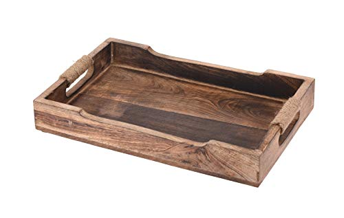 Meinposten. Tablett Serviertablett Holz Mango braun Holztablett Deko Dekotablett Dunkelbraun (Klein (31 x 20 cm))