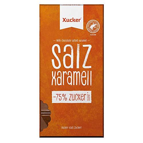 Xucker Salz-Xaramell Schokolade mit Xylit - Leckere Schokolade mit Xylitol Zuckerersatz I 38% Kakaoanteil I 70% weniger Zucker (80g)