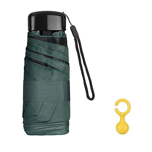 Vicloon Mini Regenschirm, Taschenschirme mit Regenschirmhaken, 6 Rippen, Aluminium Schirmständer, Sonnenschutz Regenschirm Im Freien UV Faltender Regenschirm, Goldener Griff, Leicht Kompakt - Grün