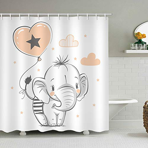 Elephant Shower Curtain Set Heart-Shaped Love Balloon Star Cloud Hand-Painted White Background Funny CuteBathroom Decor Waterproof Polyester Fabric Accessories Bath