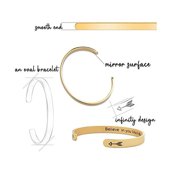 HiStock Friendship Bracelets for Women Inspirational Engraved Bracelets Mantra Hidden Message Cuff Bangle Jewelry Gifts for Women&Teens