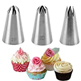 DIY Cream Rose Flower Piping Nozzles Stainless Steel Cupcake Pastry Tips Nozzle Bakery Cake Decoration Tool Kitchen Gadget(3PCS)