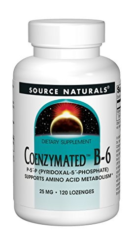 Source Naturals Coenzymated B-6 25mg P-5 Pyridoxal-5 Phosphate Fast-Acting, Quick Dissolve Vitamin Supports Amino Acid Metabolism - 120 Lozenges