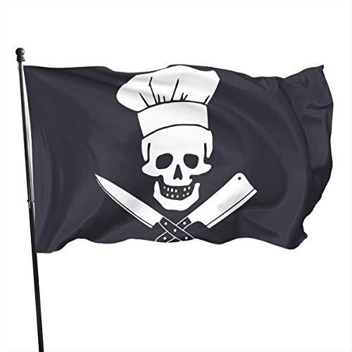 JDQP Schädel-Chef Kochen Schädel Hut Grill Meister Hausgarten Flagge Polyester Flagge Innen/Außen Wand Banner Dekorative Flagge 3x5 Fuß