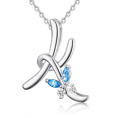 EUDORA initial fjärilshalsband 925 sterling silver alfabetet brev personligt hänge med blå kubisk zirkonia halsband presenter för kvinnor damer flickor mors dag, 45 cm kedja e sterlingsilver, colore: K With Butterfly, cod. CYD109K-2-NL41-18