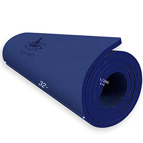 """Hatha Yoga Extra Thick TPE Yoga Mat - 72""""x 32"""" Thickness 1/2 Inch -Eco Friendly SGS Certified - With High Density Anti-Tear Exercise Bolster For Home Gym Travel & Floor Outside (Blue)"""
