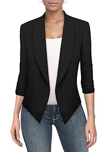 Womens Casual Work Office Open Front Blazer JK1133 Black Small