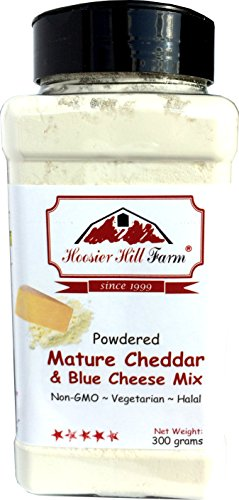 Cheddar and Blue Cheese Powder Mix (300 Grams) Easy Ingredient and Savory Topping by Hoosier Hill Farm