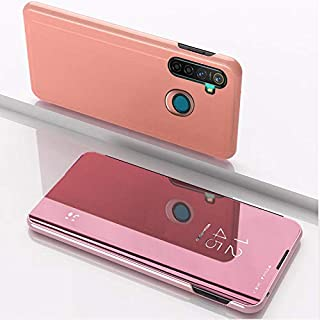Custodia® Mirror Plating Clear View Stand Function Flip Case for OPPO Realme 5 Pro (Rose Gold)