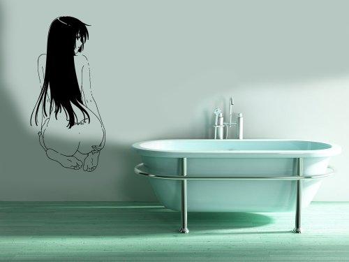 Wall Mural Vinyl Sticker Decal Anime Manga Sexy Girl Sitting Back D1635