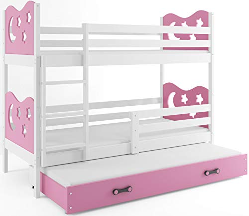 Interbeds Etagenbett Miko 3 (für DREI Kinder) 160x80cm Farbe: Weiβ + 2. Farbe zur Wahl; mit Matratzen und Lattenroste (rosa)
