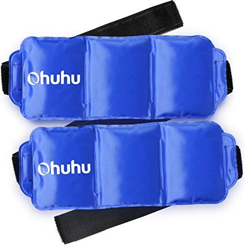 Bolsa de Hielo Reutilizables 2 pack, Ohuhu con correa de compresión para terapia térmica - para rodillas, muñecas, tobillos, brazos, muslos, codos, piernas, cuello - 36 x 14 cm