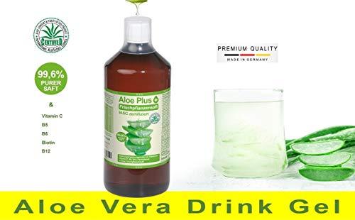 100% Aloe Vera Gel, PURER SAFT 99.6% Aloe mit Vitamin C, B5, B6, Biotin, B12   ISAC zertifiziert, 1L mit Messbecher   Nahrungsergänzung   Premium Qualität   Aloe Plus von Secret Essentials