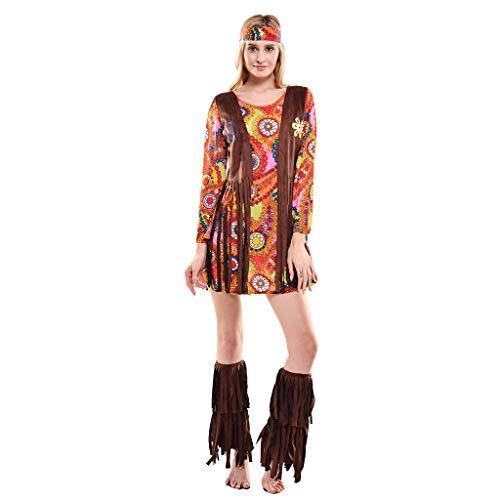 EraSpooky Disfraz de Hippie de los Años 60 para Mujer Cosplay Traje Divertido para Fiesta de Halloween para Adultos