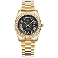 Sovoadur Crystal-Diamond Quartz Analog Waterproof Men Gold Watch (Black)