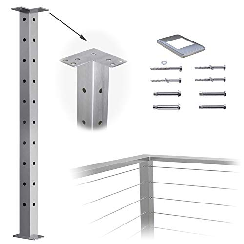 """Muzata Cable Railing Corner Post Square Weldless Flat top 36""""x2""""x2""""Stainless Steel Brushed Pre-Drilled 1-Post Corner Solution Wood Concrete Surface Mount DeckBalustrade Invisible PS02 LC4S PT1 PT3 PT6"""