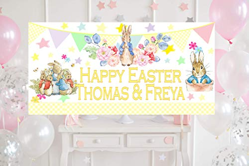PERSONALISED EASTER Decorations Peter Rabbit Bunny Party Banner Large 4ftx2ft Egg Hunt Kids Any Names first 1st Boys Girls