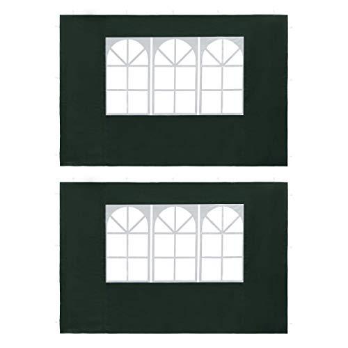 Festnight- Partyzelt-Seitenwände 2 Stück mit Fenster PE Zeltzubehör Pavillon-Zubehör Weiß/Grün