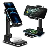 ✅ 【2-in-1 Wireless Charger Stand】: The wireless charging stand,Top and bottom respectively built in with 10W charging chip, Qi-Certified support fast charge, can simultaneously charge 2 devices: mobile phones and Airpods. ✅ 【Height & Angle Adjustable...