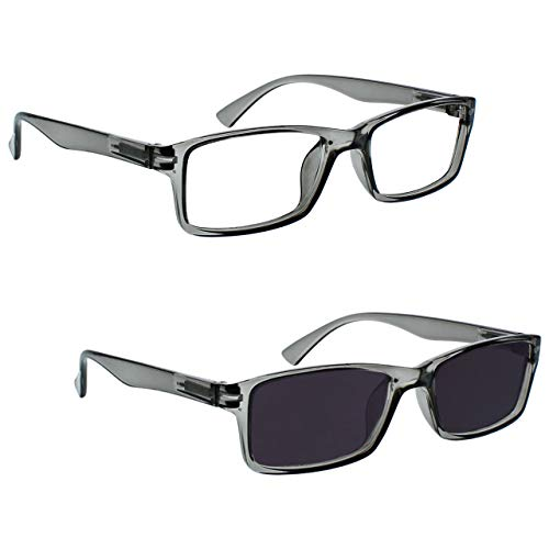 L'azienda Occhiali Da Lettura Grigio Lettori Con UV400 Lettore Sole Valore Pacco Doppio Stile Designer Uomo Donna RS92-7 +1,50