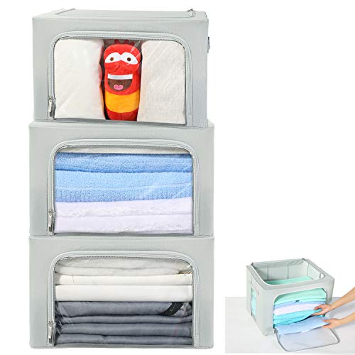 HOUSE AGAIN 3 Pcs Sturdy Storage Bags Stackable Storage Boxes/Containers, Durable Handles Solid Bottom with Metal Frame for Clothes, Bedding - Clear Window with Label Holder and Zipper/Small, Grey