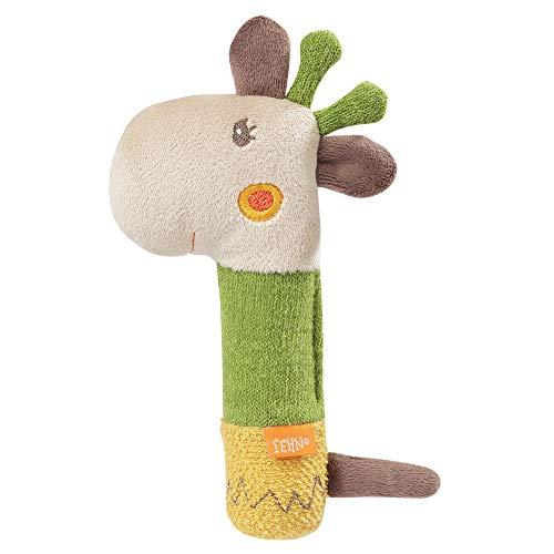 FEHN 059120 - Sonajero con forma de jirafa para sonajero, sonajero, tacto y jugar con animales de peluche suave, un fiel compañero para bebés y niños pequeños a partir de 0 meses