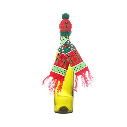 Happyyami Weihnachten hässliche Pullover Weinflasche Abdeckung gestrickte Weinflasche Schal Hut Weihnachten Lebkuchenmann Dekoration Weihnachtsfeier Tischdekoration