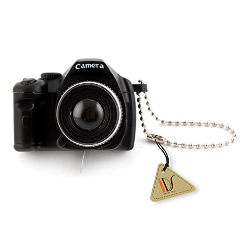 Mini schwarz SLR Kamera Toy Schlüsselanhänger Flash Taschenlampe Charm Ornament Dekoration