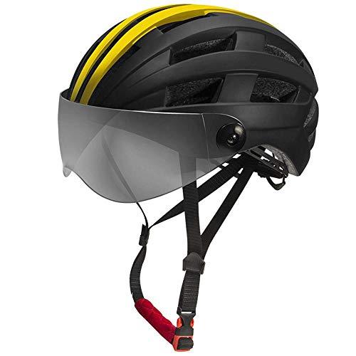 Helm Yuan Ou Professioneller Fahrradhelm mit großem 58-64 cm MTB Bike Transparent Linsenhelm Radfahren sicher Kappe BlackYellow