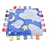 Blue Moon Star Baby Security Blanket with Colorful Satin Tags Super Soft Nursery Blanket Baby Sleep Helper Appease Towel for Toddler Best Shower Gift