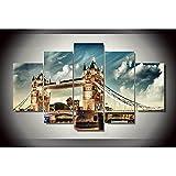 GONGXIANG -5 Cuadros De Lienzo para Cuadros De Decoración De Sala De Estar Puente De La Torre De Londres (60 X 32 Pulgadas)