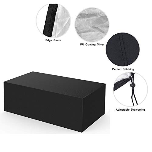 NINGWXQ 210D Oxford Cloth Outdoor Garden Patio Furniture Cover Rectangle Waterproof Rattan Furniture Covers, 2 Colors, Multiple Sizes (Color : Black, Size : 190x125x80cm)