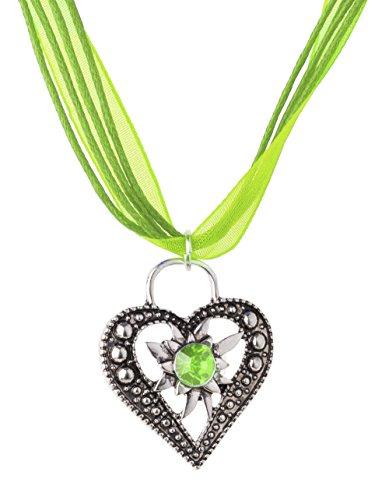 Trachtenkette Wiesnstein eleganter Herz Anhänger mit Strass - Trachtenschmuck Kette für Dirndl und Lederhose (Grün)