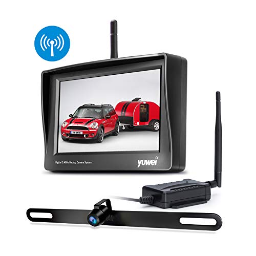 Digital Wireless Backup System, Waterproof and Night Vision Wireless License Plate Rear View Camera + 4.3'' Wireless Display for RV, Cars, Truck, Vans backup Cameras Vehicle
