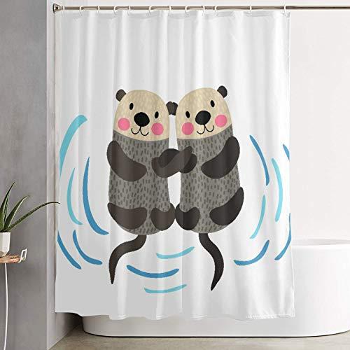 KGSPK Duschvorhang,Brown Sea Otter Paar Händchenhalten Tier Cartoon Charakter Ocean Aquatic,wasserdichter Badvorhang mit 12 Haken Duschvorhangringen 180x180cm