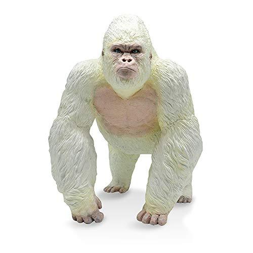 RECUR Großer Gorilla Spielzeug Weiß King Kong Figur Realistisches handgemaltes wandelndes Albino Gorilla Actionfigur Affen Wildtier Figuren Modell Geschenk für Sammler & Junge Kinder 3+ (weiß)