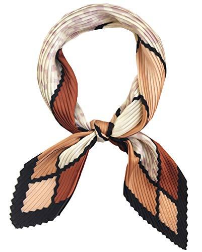 GERINLY Womens Neckerchife Pleated Plaid Silk Like Scarf Retro Spring Skinny Head Scarfs(Coffee)