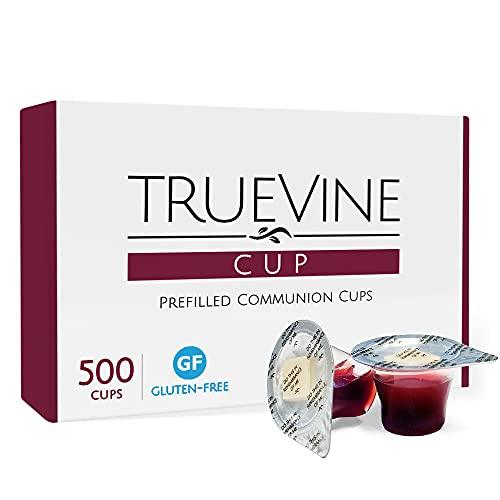 TrueVine Gluten Free Prefilled Communion Cups and Wafer Set - Pack of 500 Prefilled Communion Cups With Gluten Free Wafer & Juice - Fresh, Easy-Open Communion for Your Service (Pack of 500)
